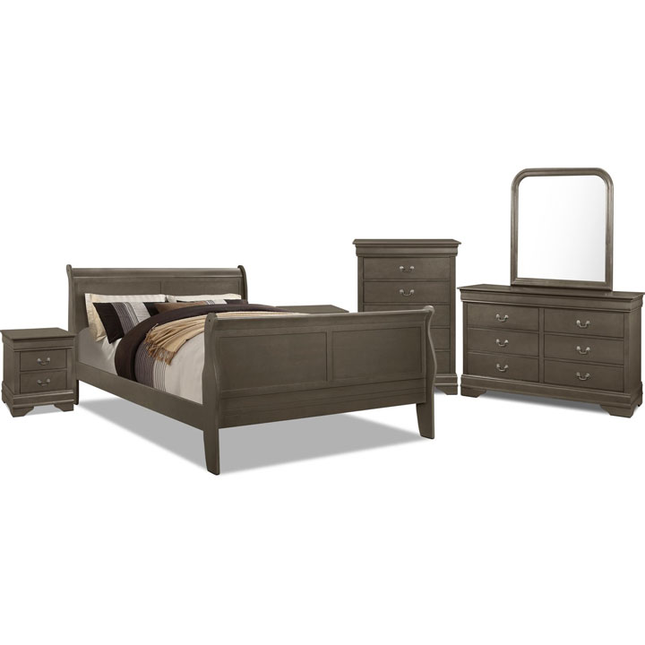 Lyla 8-Piece Full Bedroom Package – Grey