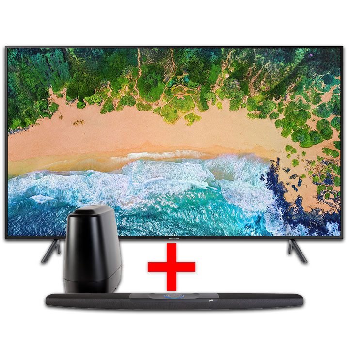 "Samsung 55"" HDR LED 4K Smart TV & Polk Command Bar Sound Bar System with Alexa Built-in Bundle"