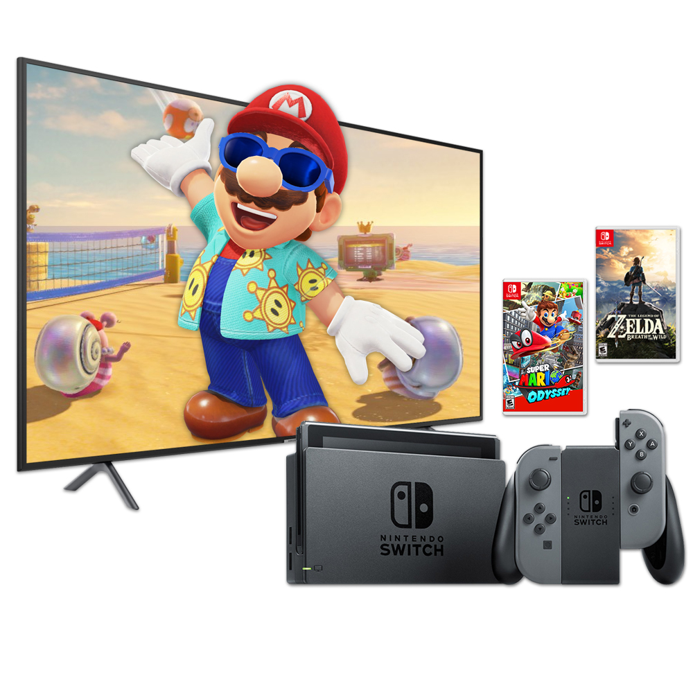 "Samsung 55"" 4K LED Smart TV NU7100 & Nintendo Switch Super Mario Bundle"
