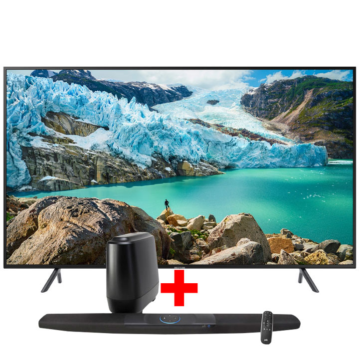 "Samsung 58"" 4K UHD RU7100  Smart TV & Polk Command Bar Sound Bar with Alexa Built-in Bundle"