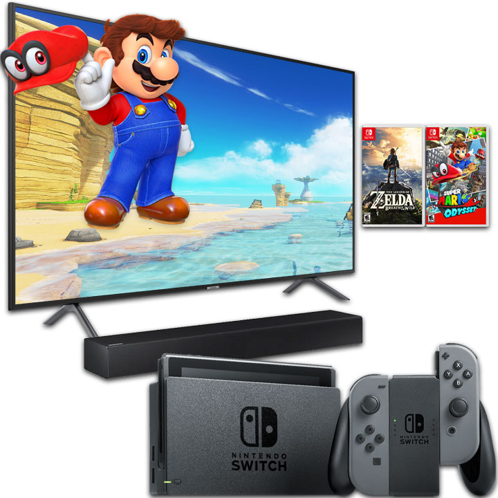 "Samsung 58"" Smart 4K UHD RU7100 TV, Nintendo Switch & Samsung 2.0 Channel Soundbar Bundle"