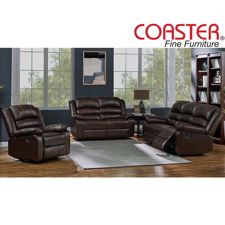 Denison Genuine Leather Reclining Living Room Set: Sofa, Love Seat, Chair