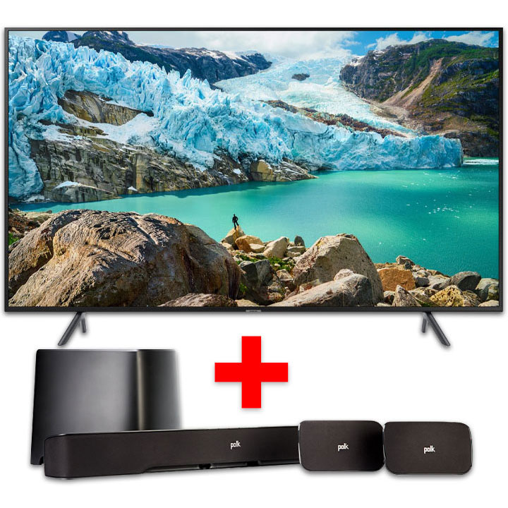 "Samsung 55"" Smart 4K UHD RU7100 TV & Polk True Surround Sound System Bundle"