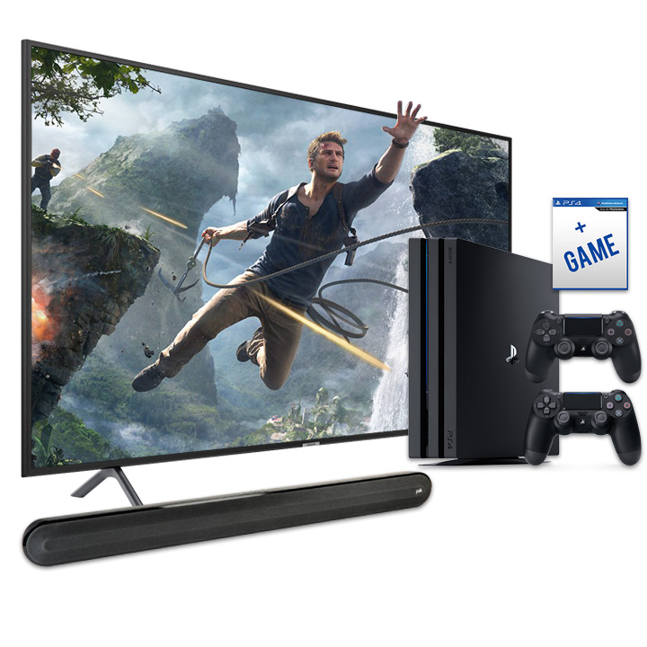 "Samsung 58"" Smart 4K UHD RU7100 TV, PS4 Pro & Polk Signa Solo Soundbar Bundle"