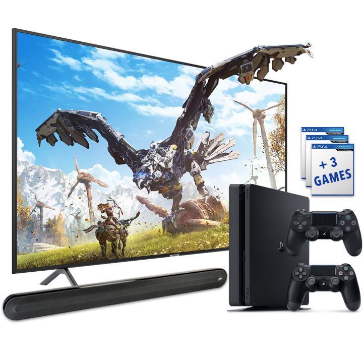 "Samsung 58"" Smart 4K UHD RU7100 TV, PS4 Slim 1TB & Polk Signa Solo Soundbar Bundle"