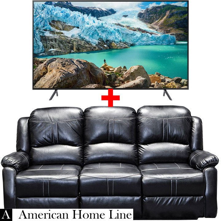 "Lorraine Bel-Aire Reclining Sofa in Ebony & Samsung 58"" Smart 4K RU7100 TV Bundle"