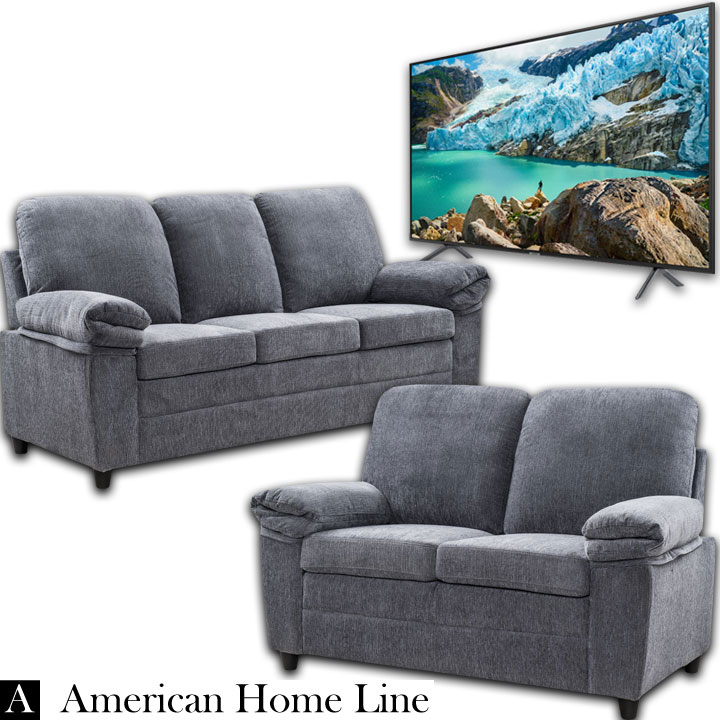"London Luxury Edition  Living Room set Sofa and Loveseat in Grey & Samsung 55"" RU7100 4K UHD TV"