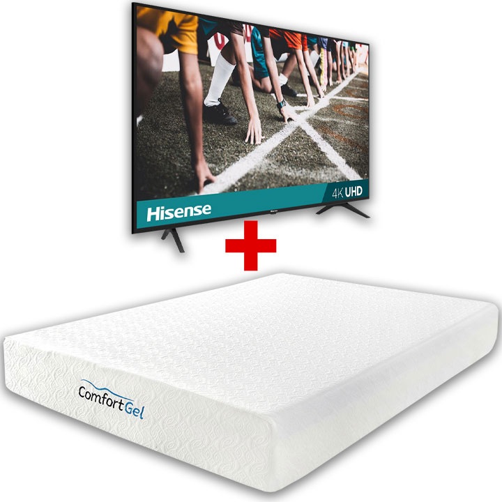 "Comfort Gel 10"" Queen Mattress & Hisense 43"" 4K UHD Smart TV Bundle"