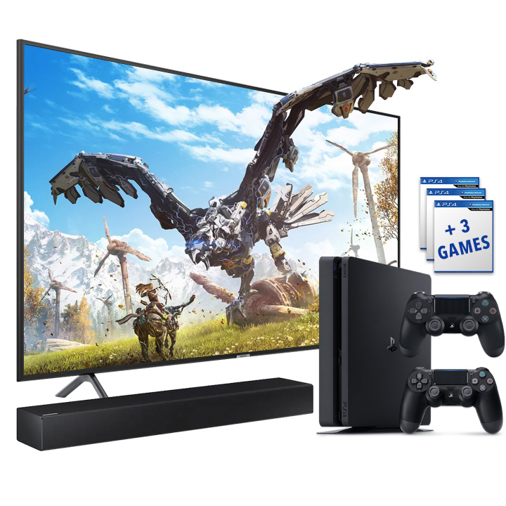 "Samsung 58"" Smart 4K UHD RU7100 TV, PS4 Slim 1TB & Samsung 2.0 Channel Soundbar Bundle"