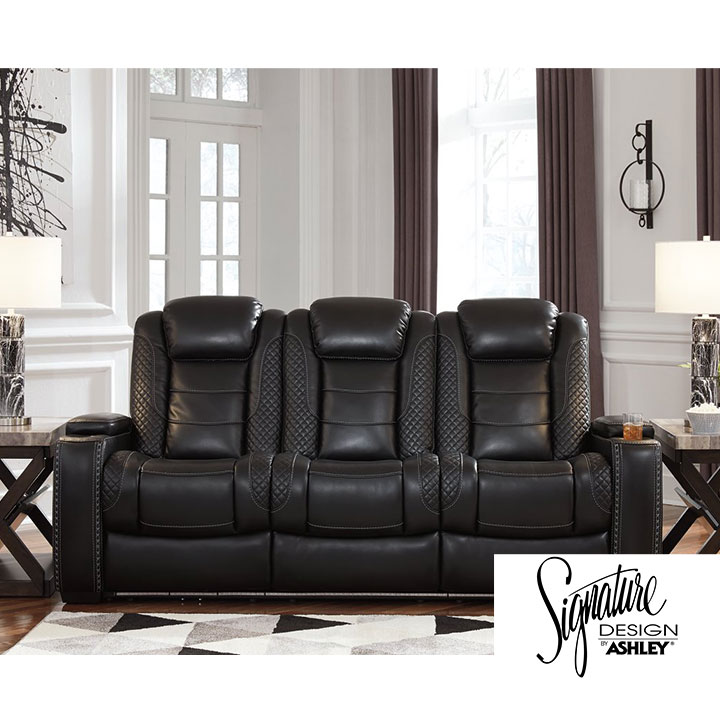 Ashley Party Time Power Reclining Sofa in Midnight