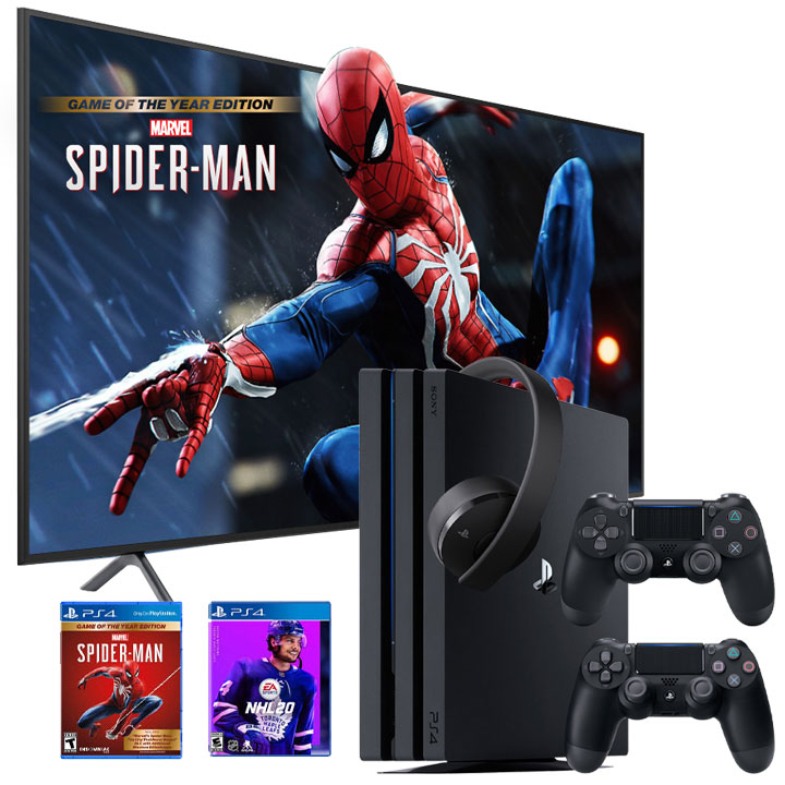 "Samsung 58"" Smart 4K UHD RU7100 TV & PS4 Pro NHL20/Spiderman GOTY Bundle"
