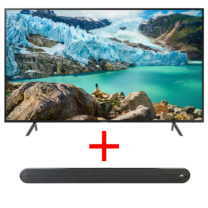 "Samsung 50"" Smart 4K UHD RU7100 TV & Polk Audio - Signa Solo Soundbar"
