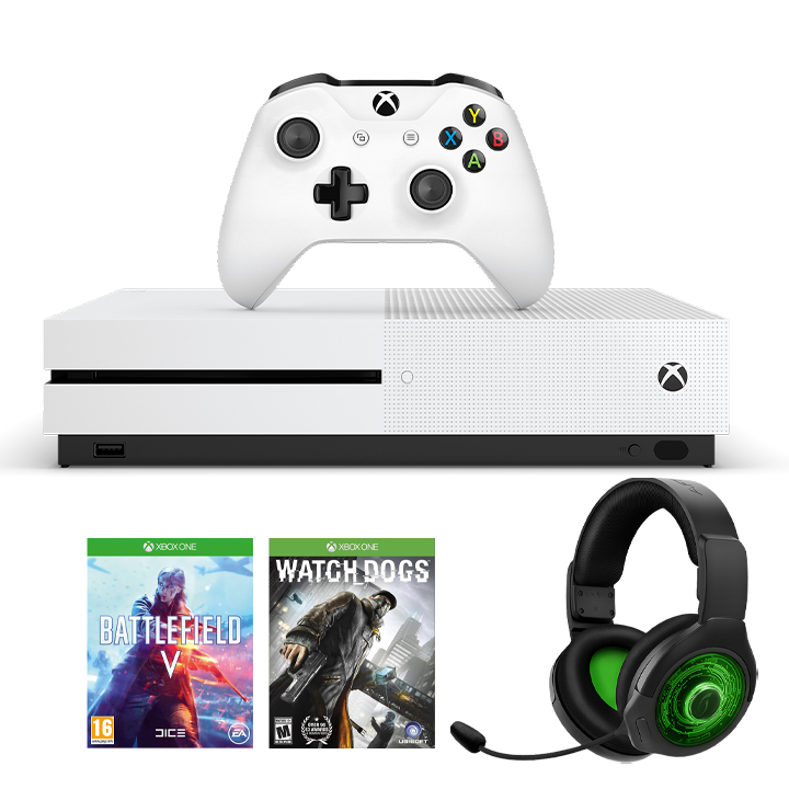 Xbox One S Battlefield V, Watch Dogs & PDP AG9+ Headset Gaming Bundle