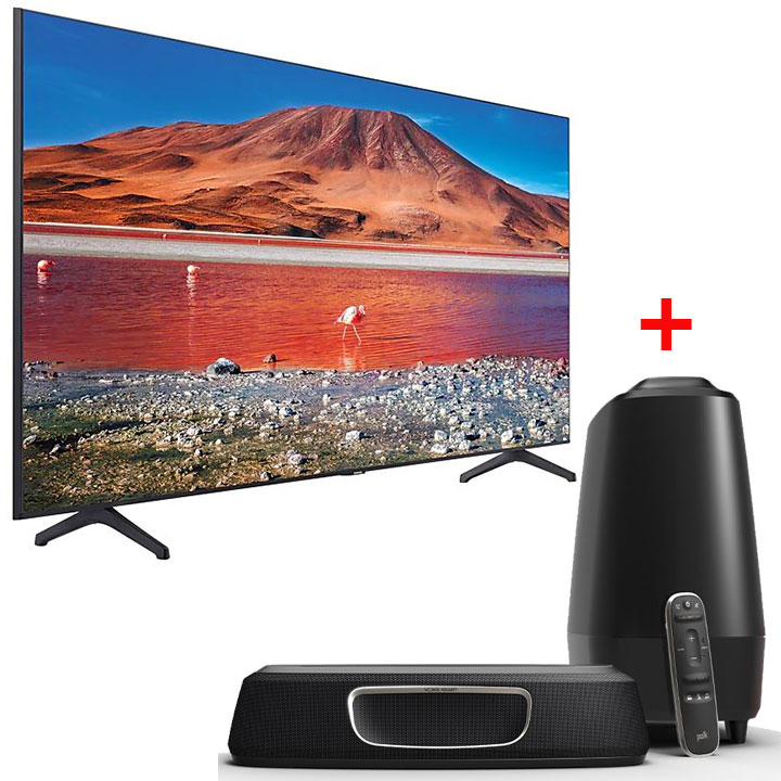 "NEW Samsung 50"" TU7000 4K Smart TV 2020 Model & Polk Magnifi Mini Home Theater Soundbar"