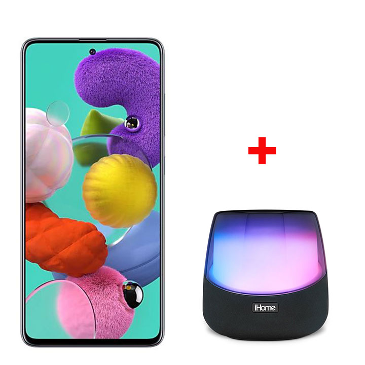 "Samsung A51 6.5"" 64GB - Crush Black & iHome Rechargeable Color Changing Stereo Speaker"