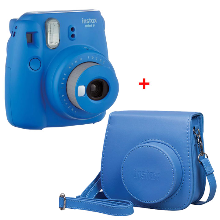Fujifilm Instax Mini 9 Instant Camera & Groovy Case Bundle in Cobalt Blue