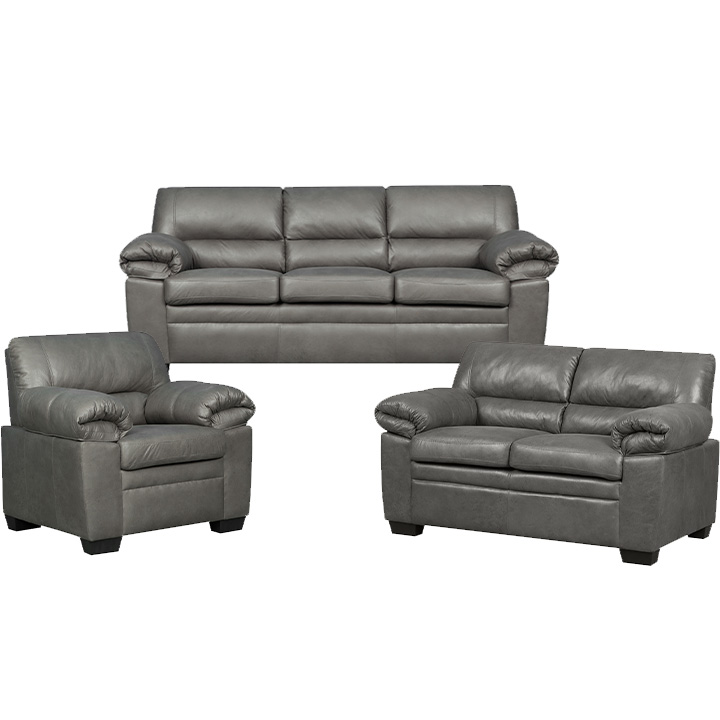 Jamieson Sofa Set Collection in Pewter, Includes: Sofa, Loveseat & Chair