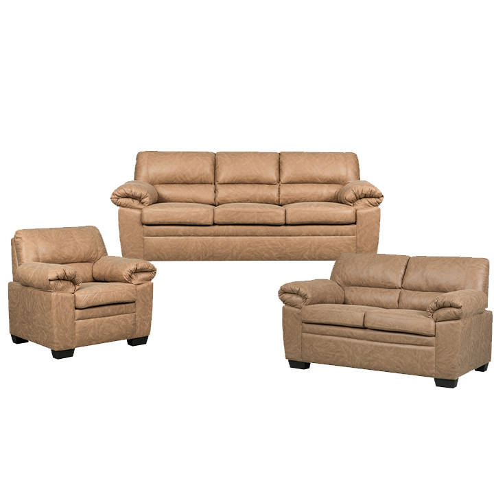 Jamieson Sofa Set Collection in Caramel, Includes: Sofa, Loveseat & Chair