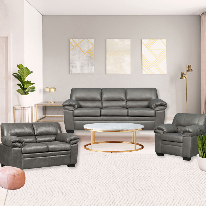 Jamieson Luxury Sofa Set Collection in Pewter, Includes: Sofa, Loveseat, Chair