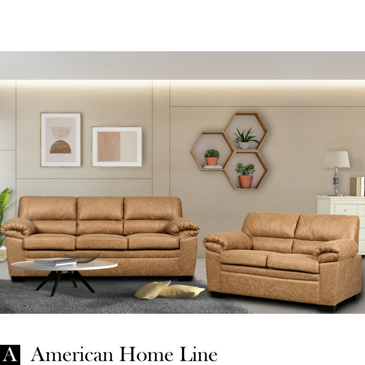 Jamieson Luxury Sofa Set Collection in Caramel, Includes: Sofa & Loveseat