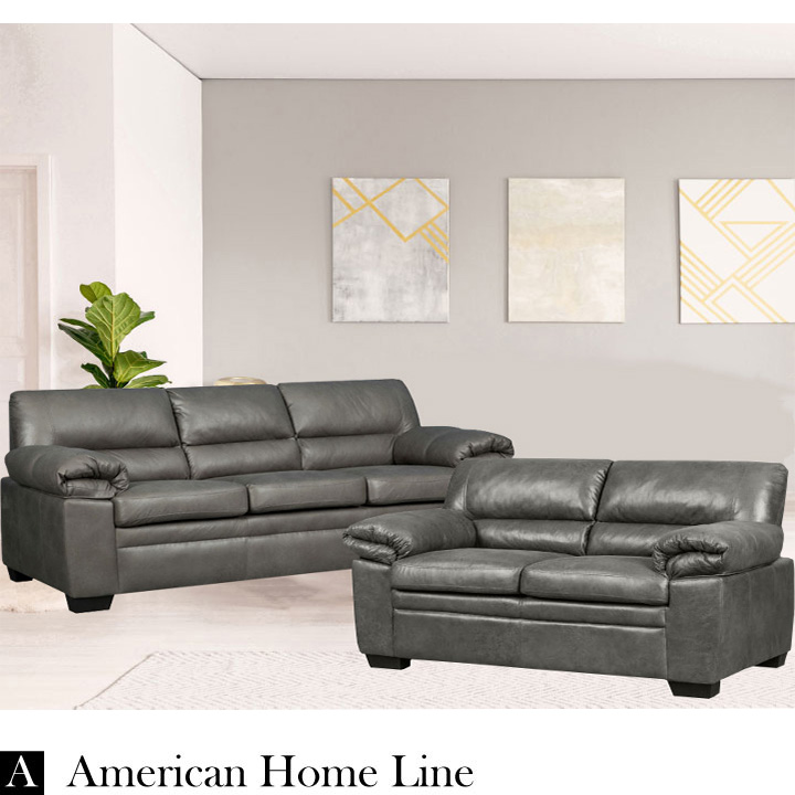 Jamieson Luxury Sofa Set Collection in Pewter, Includes: Sofa & Loveseat