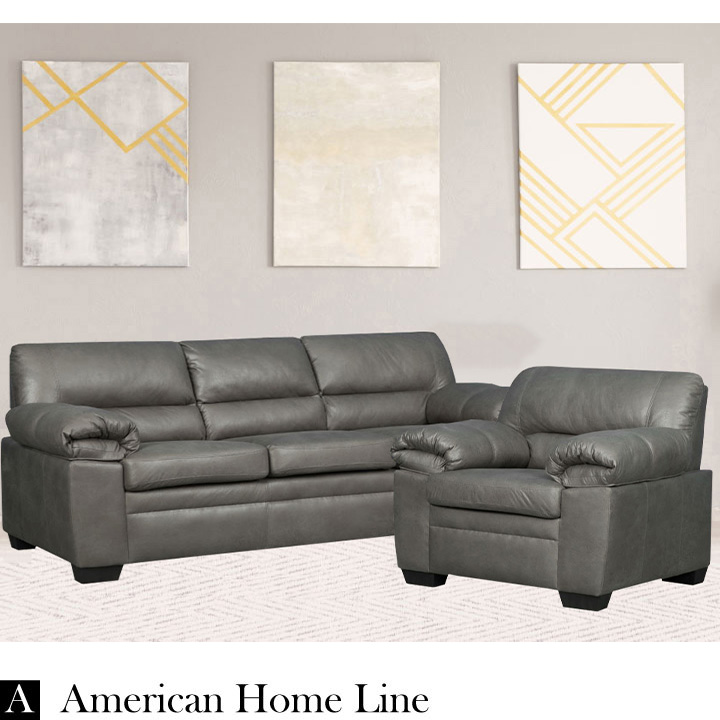 Jamieson Luxury Sofa Set Collection in Pewter, Includes: Sofa & Chair