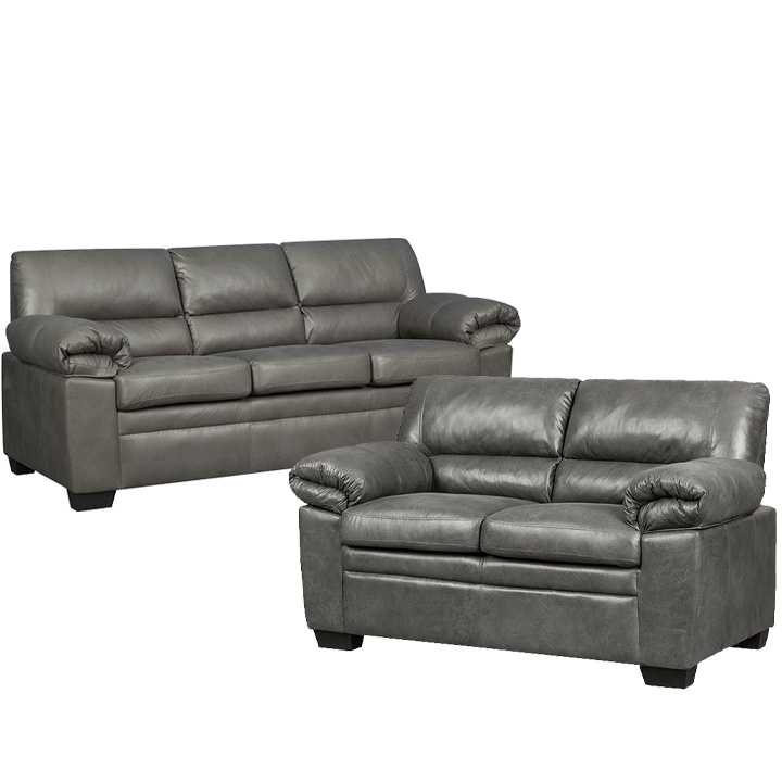 Jamieson Sofa Set Collection in Pewter, Includes: Sofa & Loveseat