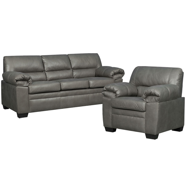 Jamieson Sofa Set Collection in Pewter, Includes: Sofa & Chair