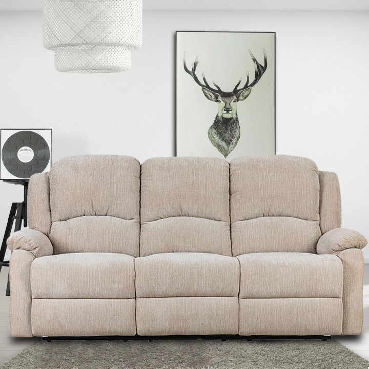 Crawford Luxury Recliner Sofa in Beige