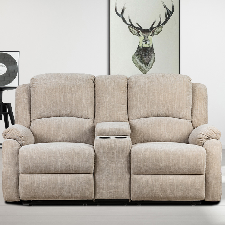 Crawford Luxury Recliner Loveseat in Beige