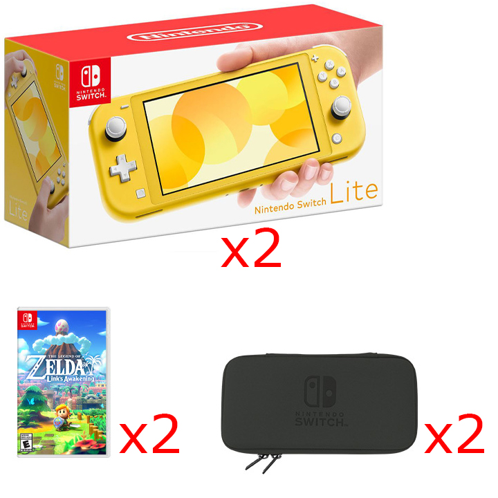 2 Nintendo Switch Lite Consoles in Yellow, 2 Games & 2 Hori Tough Pouch Cases Bundle