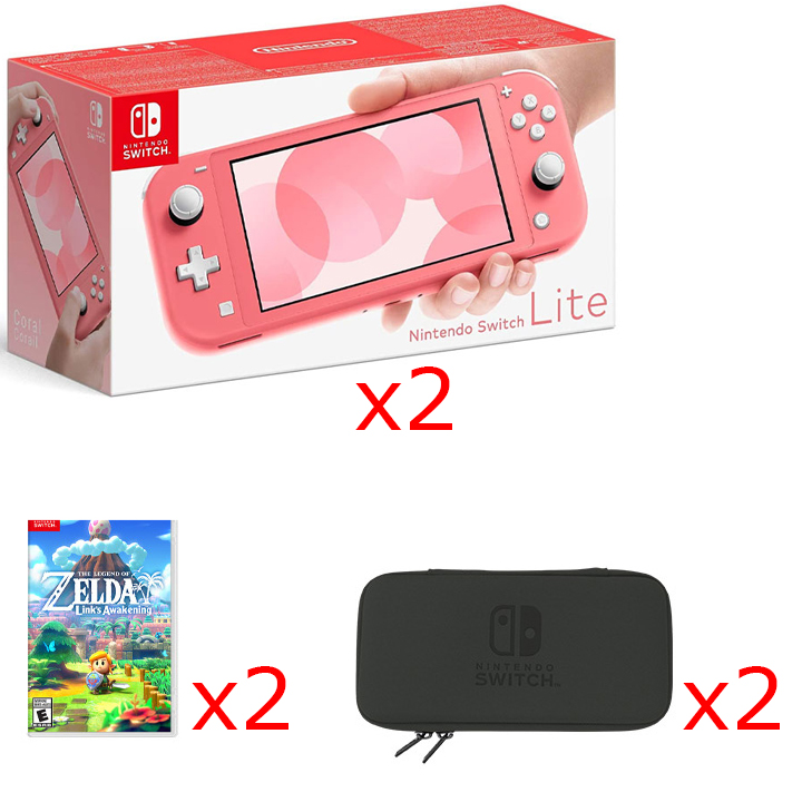 2 Nintendo Switch Lite Consoles in Coral, 2 Games & 2 Hori Tough Pouch Cases Bundle