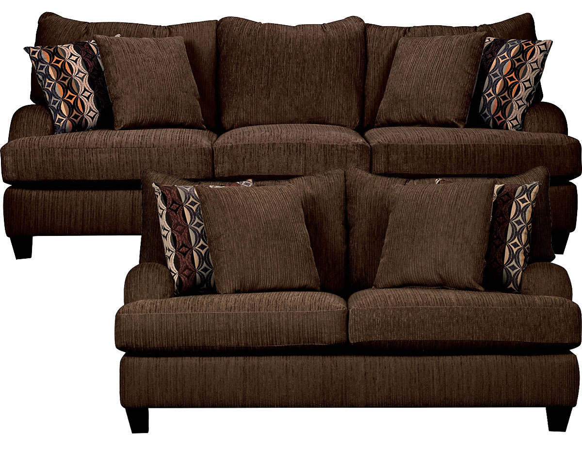 Alexa Chenille Sofa And Loveseat Set In Chocolate